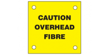 Caution Overead Fibre Labels Pack of 10